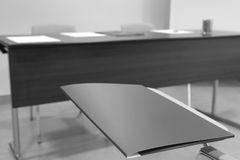Classroom with School chairs and desk Stock Photos