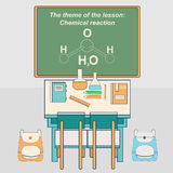 Classroom in school with desk and chalkboard. Chemistry class. Vector illustration in flat style Stock Photo
