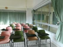 Classroom. School classroom with school desks in Thai university stock images