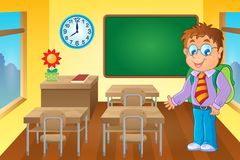 Classroom with schoolboy. Eps10 vector illustration Stock Image