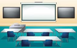 Classroom with screens and tables Stock Photos