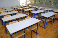 Classroom seats and tables 2 stock photos