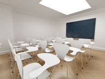 Classroom sideview. Side view of a classroom with a chalkboard Stock Image