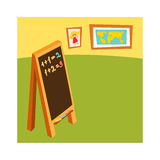 Classroom without student school class with wooden furniture and green blackboard on brick-wall-rendering vector. Royalty Free Stock Photo