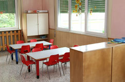 Classroom table and small chairs in kindergarten Royalty Free Stock Photography