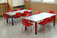 Classroom with table and small chairs in kindergarten Stock Photography