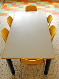 Classroom with table and small chairs in kindergarten Royalty Free Stock Photo