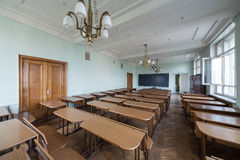 Classroom with tables in the Faculty of Physics. MOSCOW - MAY 13: Classroom with tables in the Faculty of Physics in Moscow State University on May 13,2013 in royalty free stock photography