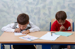 Classroom. Two schoolboys Stock Photo