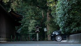 Classy black cab taxi park in Japanese Shinto temple forest. In Tokyo royalty free stock photography