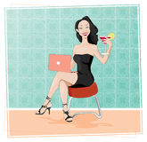 Classy Blogger in Little Black Dress. Beautiful lady toasts you with her Apple Martini as she blogs about her life vector illustration