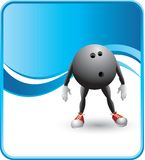 Classy blue bowling ball cartoon character. Bowling ball cartoon character with a blue wave background Royalty Free Stock Images