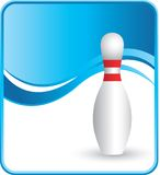 Classy bowling pin. Bowling pin with a blue wave background Stock Photo