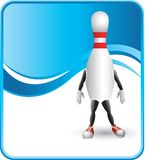 Classy bowling pin cartoon character. Bowling pin cartoon character with a blue wave background Stock Photos