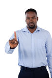 Classy businessman pointing his finger Stock Images