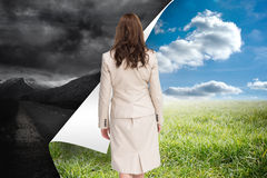 Classy businesswoman walking away from camera Stock Photo