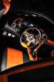 Classy car interior. With orange details decoration Stock Photos