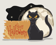 Classy Cat on Full Moon and Stars and Ghosts Background, Vector Stock Photography