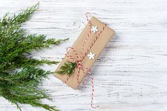 Classy Christmas gifts box presents on brown paper Royalty Free Stock Images