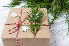 Classy Christmas gifts box presents on brown paper Stock Photo
