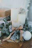 Classy Christmas hand made gifts box presents with brown bows. Selective focus Royalty Free Stock Photography