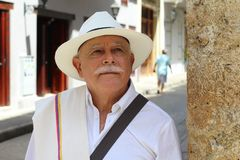 Classy Colombian elder man outdoors.  royalty free stock image