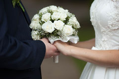 Classy cute elegant exquisite flavorful beige roses wedding bouq Royalty Free Stock Images