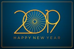 Classy design vector 2019 happy new year background with color gold. Design vector 2019 happy new year for greeting card or banner. Vector illustration EPS.8 stock illustration