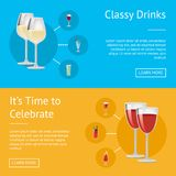 Classy Drinks and it s Time to Celebrate Poster. Vector illustration with white text sample and push buttons, varied alcohol beverage icons in circles Royalty Free Stock Image