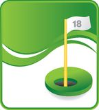 Classy Eighteenth hole. Eighteenth hole with flag on green wave background Royalty Free Stock Image