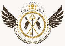 Classy emblem made with bird wings decoration, keys and monarch. Crown symbol. Vector heraldic Coat of Arms Stock Photography