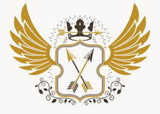 Classy emblem made with eagle wings decoration, armory and royal Stock Photo