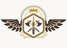 Classy emblem made with eagle wings decoration, armory and royal Stock Photos
