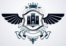Classy emblem made with eagle wings decoration, medieval castle vector illustration