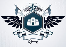Classy emblem made with eagle wings decoration, medieval tower a Royalty Free Stock Image