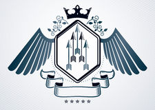 Classy emblem made with eagle wings decoration, spears and royal. Crown symbols. Vector heraldic Coat of Arms Royalty Free Stock Image