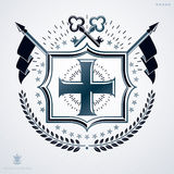 Classy emblem made with laurel leaf decoration, Christian cross Royalty Free Stock Photos