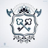 Classy emblem made with stars decoration, armory and keys symbol Royalty Free Stock Photography