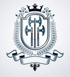 Classy emblem, vector heraldic Coat of Arms. Royalty Free Stock Photo