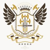 Classy emblem, vector heraldic Coat of Arms. stock illustration