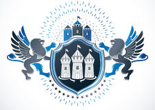 Classy emblem, vector heraldic Coat of Arms created using ancient castle and gryphon illustration. stock illustration