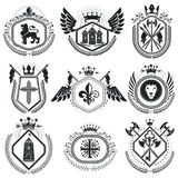 Classy emblems, vector heraldic Coat of Arms. Vintage design ele. Ments collection Stock Photo
