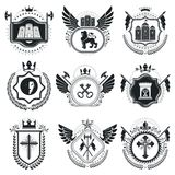 Classy emblems, vector heraldic Coat of Arms. Vintage design ele. Ments collection Stock Images