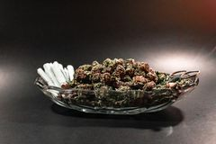 Classy glass dish with marijuana bud, scissors and a dozen joint royalty free stock photos