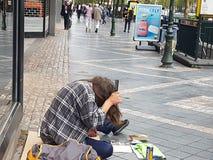 Classy homeless stock image