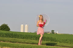 Classy lady in the country side Stock Images