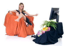 Classy lady television Stock Image