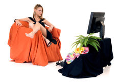 Classy lady television Royalty Free Stock Photo