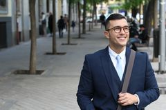 Classy man wearing suit and tie outdoors.  Stock Photo