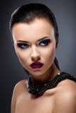 Classy Strict Lady Portrait - Bright Makeup Stock Photos
